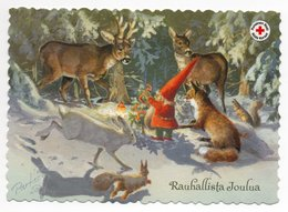 Postal Stationery RED CROSS  Finland - Artist:RAIMO PARTANEN - GNOME - DEER - FOREST ANIMALS - Postage Paid - Finlandia