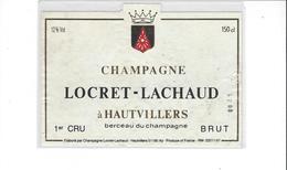 ETIQUETTE  CHAMPAGNE  LOCRET  LACHAUD A HAUVILLERS  MAGNUM   ****   RARE  A  SAISIR **** - Champagne