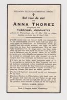 DOODSPRENTJE THOREZ ANNA ECHTGENOTE CROQUETTE VLAMERTINGE (1886 - 1940) - Imágenes Religiosas