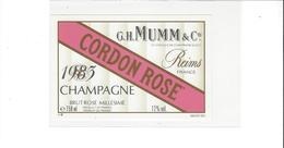 ETIQUETTE  CHAMPAGNE  MUMM CORDON ROSE  1983   ****   RARE  A  SAISIR * - Champagne