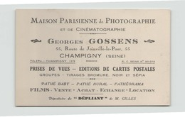 """Carte De Visite Publicitaire """" Maison Parisienne De Photographie """" à Champigny - Cartoncini Da Visita"""