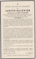 DOODSPRENTJE OLLEVIER JUDITH ECHTGENOTE VLAMYNCK VLAMERTINGE (1886 - 1944) - Imágenes Religiosas