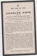 DOODSPRENTJE AMPE CHARLES ZOON VAN AUGUSTE EN LEMAHIEU VLAMERTINGE (1850 - 1930) - Devotieprenten