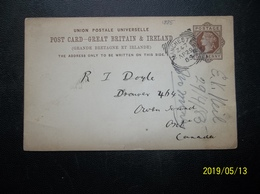Great Britain: 1885 Postal Card To Canada (#YQ9) - 1840-1901 (Victoria)