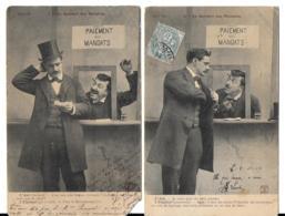Le Guichet Des Mandats (2 Cartes) Style Bergeret - Hommes