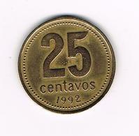 //  ARGENTINA  25  CENTAVOS  1992 - Argentine