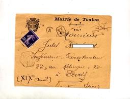 Devant De Lettre Recommandee Toulon Hexagonal Entete Mairie - Marcophilie (Lettres)