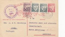 PORTUGAL 1934 - 25 P Ganzsache + 3 Fach Zusatzfrankierung Auf Firmenpostkarte Gel.n.Hamburg - 1910-... Republik