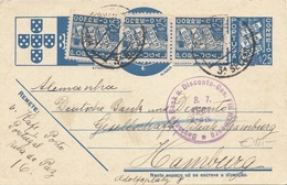 PORTUGAL 1937 - 25 P Ganzsache + 3 Fach Zusatzfrankierung Auf Firmenpostkarte Gel.n.Hamburg - 1910-... Republik