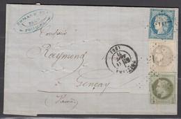Rare -Affranchisst Sept 71  LAC N25+37+41 Poitiers-Gencais CaD 11/09/71 - 1870 Emission De Bordeaux