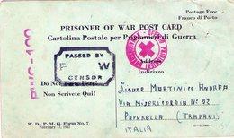 ITALIA  Prigionieri Di Guerra  Cartolina    U.S.A.P.O.    1 Foto - 1900-44 Vittorio Emanuele III