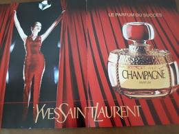 """Yves St LAURENT Grande Double Carte D'Invitation Pour La Sortie De **CHAMPAGNE** Aux """"Galeries LAFAYETTE"""" Sept 1993 - Perfume Cards"""