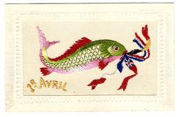 CARTE BRODÉE - 1er AVRIL - POISSON - FISH - DRAPEAUX - FLAGS - Brodées