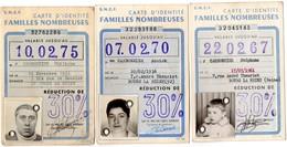 3 Cartes D'identité, Familles Nombreuses, Sncf. 30 %. - Season Ticket