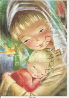 Dessin De Vierge à L'Enfant-Jésus, Oiseau. Signée Dobon - Vierge Marie & Madones