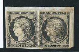 FRANCE CLASSIQUE - CERES N°3 X 2. Sur Fragment.  Cote :  60€ X 2. - 1849-1850 Ceres