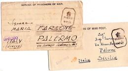 ITALIA  Prigionieri Di Guerra  Lotto Di 2  Piego Con Testo    Bombey India 1 Foto - 1900-44 Vittorio Emanuele III