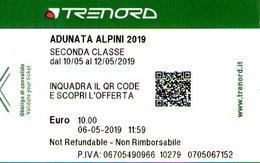 B 2486 -  92° Adunata Alpini  Milano, Biglietto Trenord - Ferrovie