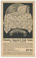 Postal Stationery USA 1923 Irish Linen - Textile
