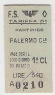 Biglietto Treno  - Italy Italia - Railway