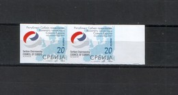 Serbia 2007, Serbian Chairmanship Council Of Europe, Imperforated In Pair - Serbia