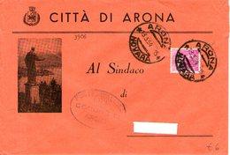 B 2487 - Busta Viaggiata, Arona, Provincia Di Novara - 6. 1946-.. Repubblica