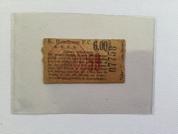 TICKETS D'ENTREE K.HEMIKSEM F.C   K.B.V.B. ( Année 1950/1960)  Résultat F.C HEMIKSEM 2 / KL .B 4 - Tickets D'entrée