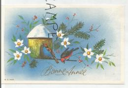 Carte De Vœux. Bonne Année. Deux Oiseaux Sur Un Nichoir, Fleurs Et Branches De Sapin. - Nouvel An