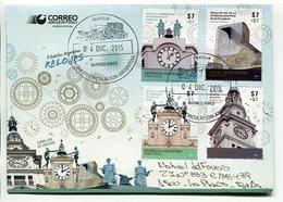 RELOJES, CLOCKS, HORLOGES. ARGENTINA 2015 SOBRE DIA DE EMISION FDC ENVELOPE CIRCULE - LILHU - Relojería