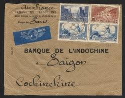Enveloppe Banque De L'Indochine-N°261+262 (Pont Du Gard) +311 Perforés BI - Perforés