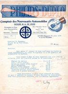 1 Faktuur Antwerpen Comptoir Des Nouveautés Automobiles Isidore De Vries Phillips Duplo Van Wesembeeckstraat  C1928 - Belgique