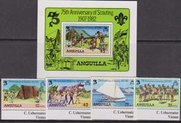 Anguilla  - 1982 Scout Set+shett MNH - Anguilla (1968-...)