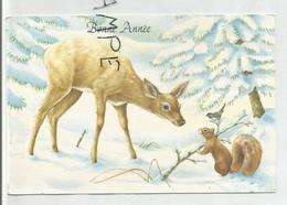 Carte De Vœux. Biche En Conversation Avec Un écureuil Et Un Oiseau Dans Une Forêt Enneigée. - Nouvel An