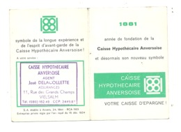Calendrier De Poche 1967 - Publicité Caisse Hypothécaire Anversoise - J. Delacollette à VIELSALM  (van) - Petit Format : 1961-70