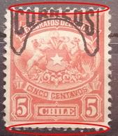 TELEGRAPH STAMP - 5 C-OVERPRINT CORREOS-ERROR-CHILE-1904 - Chili
