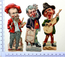 3 CHROMOS  DECOUPIS...HOMMES ...METIERS ..PEINTRE AVEC SA PALETTE OU AVEC UNE TOILE...CHANTEUR AVEC SA GUITARE - Victorian Die-cuts