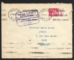 Enveloppe Avec Type Paix 50c Rouge Type  IV-Bande Publicitaire -Blédine-Cachet De Douai Nord - Advertising