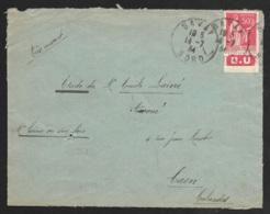 Enveloppe Avec Type Paix 50c Rouge Type  IIA-Bande Publicitaire -D.U-Cachet De Bavay Nord - Advertising