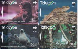 NEW ZEALAND - SET OF 4 ANIMAL CARDS - WWF - SEAL - BIRD - Neuseeland