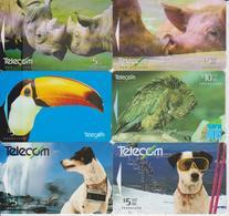 NEW ZEALAND - SET OF 6 ANIMAL CARDS - RHINO - PIG - TOUCAN - BIRD - DOG - Neuseeland