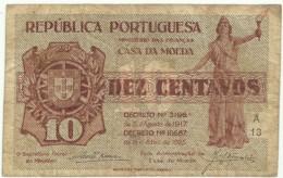 CÉDULA De 10 Centavos - SÉRIE A 13 - CASA Da MOEDA - M. A. N.º 10 - Portugal Emergency Paper Money - Notgeld - Portugal