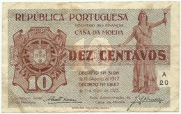CÉDULA De 10 Centavos - SÉRIE A 20 - CASA Da MOEDA - M. A. N.º 10 - Portugal Emergency Paper Money - Notgeld - Portugal