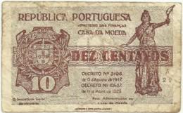 CÉDULA De 10 Centavos - SÉRIE A 22 - CASA Da MOEDA - M. A. N.º 10 - Portugal Emergency Paper Money - Notgeld - Portugal