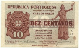 CÉDULA De 10 Centavos - SÉRIE A 42 - CASA Da MOEDA - M. A. N.º 10 - Portugal Emergency Paper Money - Notgeld - Portugal