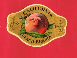 1 Etiquette ...CALIFORNIA PEACH BRANDY Litho Myncke Bruxelles - Etiquettes