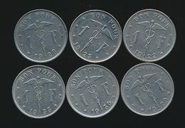 BELGIE ALBERT I  1 FR FRANS  1922 ,23,28,29,30 EN 33  MOOIE STAAT 2 SCANS - 1934-1945: Leopold III