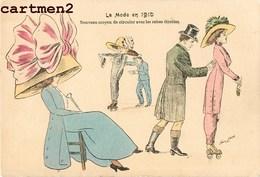"""ILLUSTRATEUR XAVIER SAGER FEMME AU CHAPEAU """" LA MODE EN 1910 """" PATINS A ROULETTES Humour Couple - Sager, Xavier"""