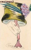 """CARTE PEINTE A LA MAIN ILLUSTRATEUR STYLE XAVIER SAGER FEMME AU CHAPEAU """" LA MODE  """" GROG - Andere Illustrators"""