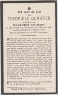 DOODSPRENTJE QUARTIER THEOPHILE WEDUWNAAR TRUWANT VLAMERTINGE (1856 - 1931) - Devotieprenten