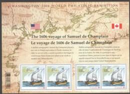2006 1606 Voyage Of Samuel De Champlain USA/Canada Joint Souvenir Sheet  Sc 2156 MNH - 1952-.... Elizabeth II
